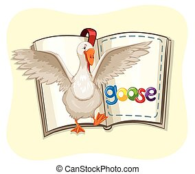 Open book with goose walking out