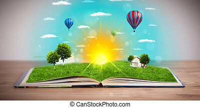 Open book with green nature world coming out of its pages