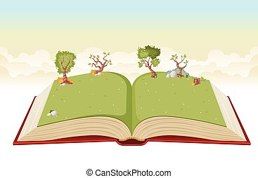 Open book with green park.