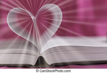 Open book with heart shape