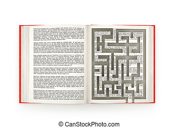 Open book with labyrinth, isolated on white background. 3d illustration