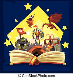 Open book with legend, fairy tail fantasy book with knights, dragon, wizard, imagination concept