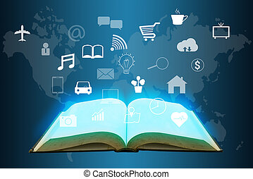 open book with many icon on virtual world map screen , internet of things concept