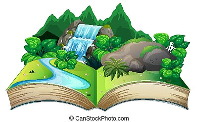 Open book with nature landscape