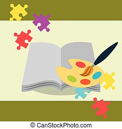 open book with paint brush palette color puzzles