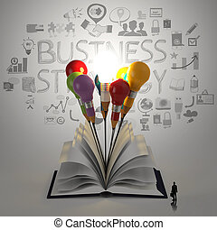 open book with pencil lightbulb 3d hand drawn business strategy icons and business man as concept