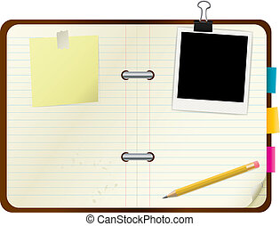 Open book with picture frame and post-its