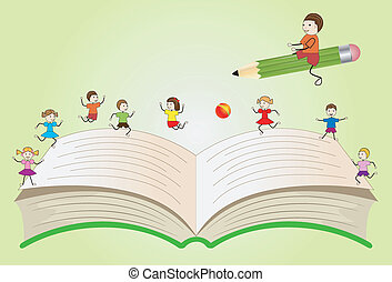 open book with playing children