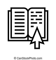 Open book with pointer vector illustration, line style icon