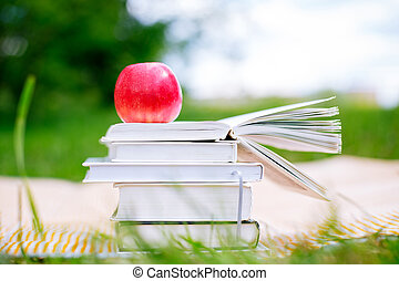 Open book with red apple
