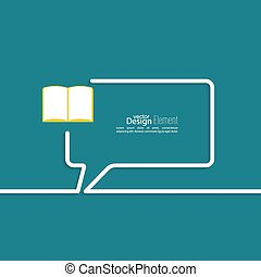 Open book with space for saying, quotes, excerpts. Chat symbol. Outline.