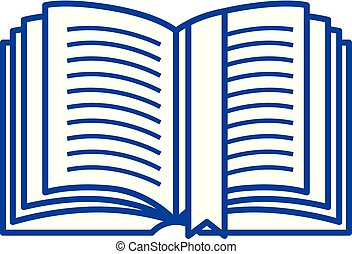 Open book with tag line icon concept. Open book with tag flat vector symbol, sign, outline illustration.