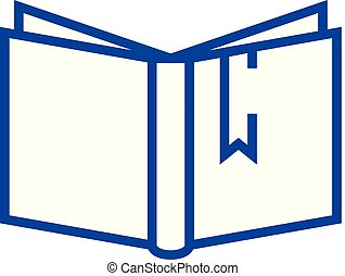 Open book with tag sign line icon concept. Open book with tag sign flat vector symbol, sign, outline illustration.