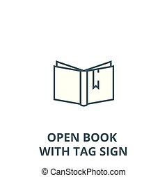 Open book with tag sign vector line icon, linear concept, outline sign, symbol