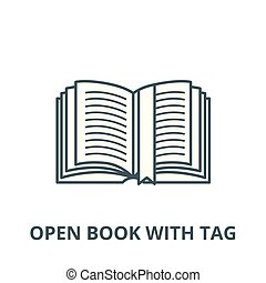 Open book with tag vector line icon, linear concept, outline sign, symbol