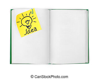 """open book with the attached sheet with the inscription """"idea"""""""