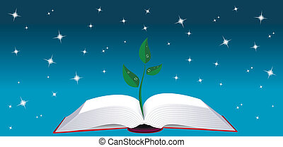Open book with tree sprout