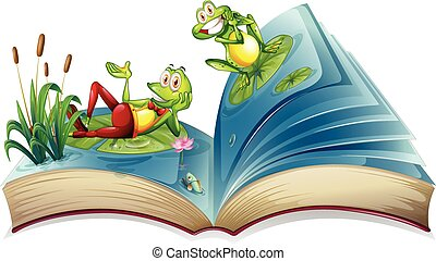Open book with two frogs in the pond illustration