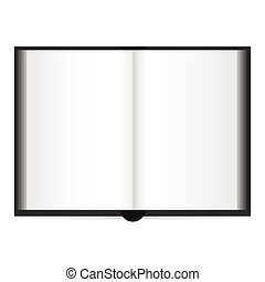Open book with white pages. Illustration on white background.