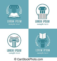 Open books and antique columns icons. Library, university or ancient book store logo set