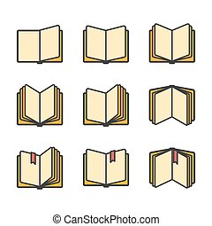 Open books icons set isolated over white