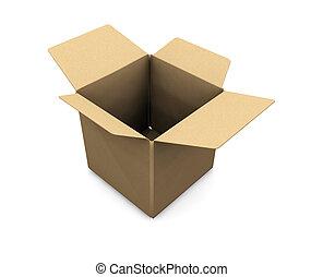 Open box - 3D render of an open cardboard box