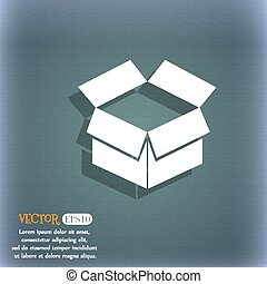 Open box icon. On the blue-green abstract background with shadow and space for your text. Vector