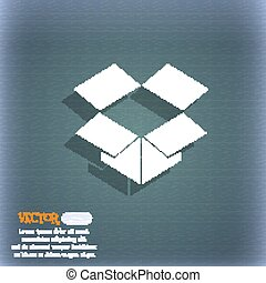 open box icon symbol on the blue-green abstract background with shadow and space for your text. Vector