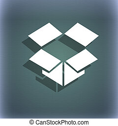 open box icon symbol on the blue-green abstract background with shadow and space for your text.