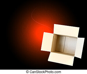 Open Box in a glowing background