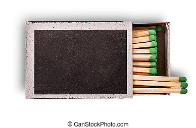 Open box of matches top view