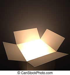 Open Box - Open box with light inside. Your text coming out...