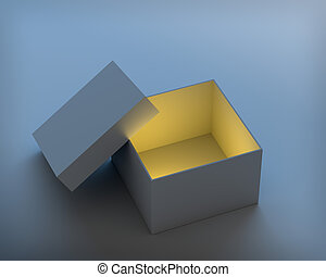 Open box with cap on blue background