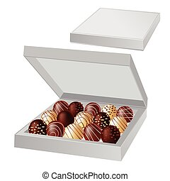 Open box with chocolates