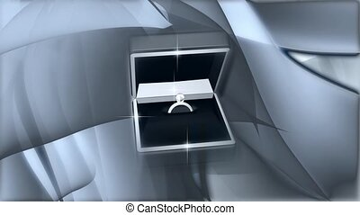 Open box with engagement ring