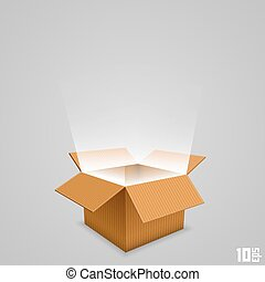 Open box with the outgoing light. Vector illustration