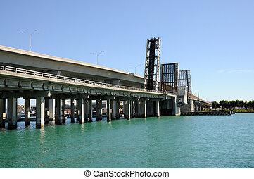 Open Bridge over the Biscayne Bay, Miami Florida