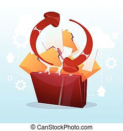Open Briefcase Paper Document Cloud Storage Database...