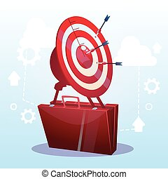 Open Briefcase Target Successful Goal Business Strategy Concept