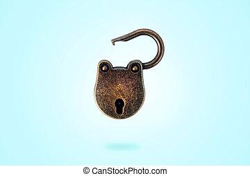 bronze padlock levitate