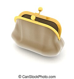 open broun purse  on a white
