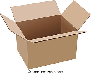 open brown cardboard box isolated on white background