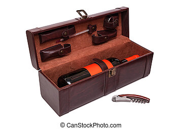 Open brown leather case for wine with a set of tools on white background. Wine opener gift set with bottle of red wine with label in trendy color lush lava. Closeup