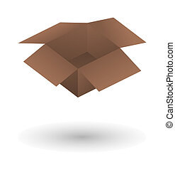 open brown paper box with shadow on white background