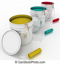 open bucket with color paint and rollers