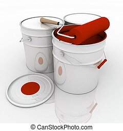 open bucket with red paint