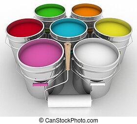 open buckets with a paint and rollers