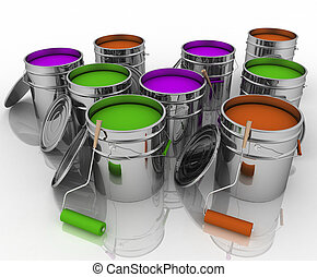 Open buckets with paint and rollers