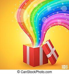 open, cadeau, met, regenboog