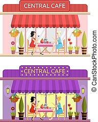 Open cafe building facade. Vector. Flat. - Open cafe...